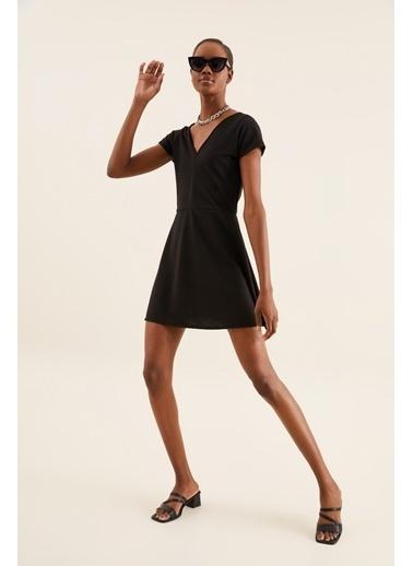 Quincey V Yaka Mini Elbise Siyah